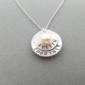Two Names Hand Stamped Mommy Necklace Sterling Cupped Disc with Birthstones - Personalized Jewelry - Gift For Her