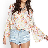 FOREVER 21 Retro Floral Blouse Cream/Multi