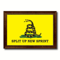 Split Up New Sprint Military Flag Canvas Print with Brown Picture Frame Home Decor Wall Art Gift Ideas