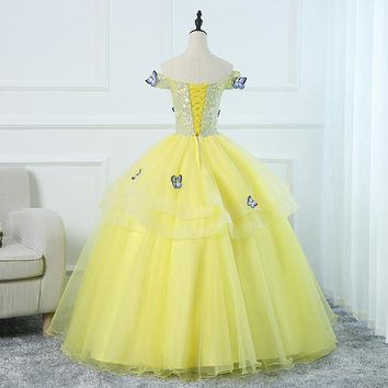 Candy Color Evening Dress Boat Neck Off the Shoulder Ball Gown Three Tiered Lace 3D Butterfly Pattern Princess