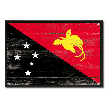Papua New Guinea Country National Flag Vintage Canvas Print with Picture Frame Home Decor Wall Art Collection Gift Ideas