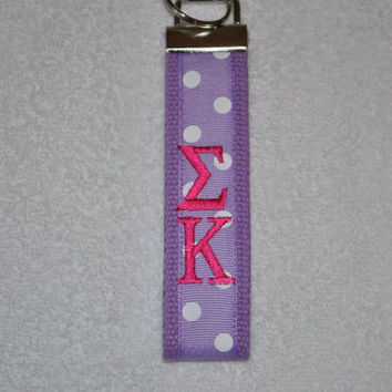 Sigma Kappa Sorority (OFFICIAL LICENSED PRODUCT)  Monogrammed Key Fob Keychain Cotton Webbing Ribbon Wristlet