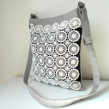 Canvas Crossbody Bag, White Lace Handbag, Grey Shoulder Bag, Black and white Bag, Grey Canvas  Handbag, Bag with Pockets