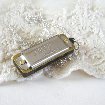 1- Swan Harmonica Necklace Miniature Real Musical instrument Pendant Unisex Jewelry Music Making Necklace