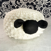 Ivory crochet floor pouf. Crochet sheep pillow. white crochet ottoman. Nursery decor. Gift idea for child.