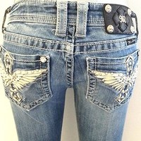 MISS ME JEANS WOMENS LIBERTY ANGEL WING CROSS BOOT MISS ME JEANS SIZE 25