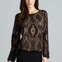 Max Studio Long Sleeve Black Lace Mesh Top