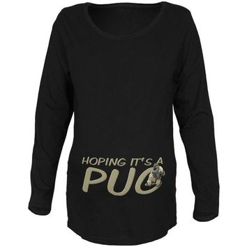 DCCKJY1 We're Hoping it's a Pug Funny Cute Puppy Maternity Soft Long Sleeve T Shirt