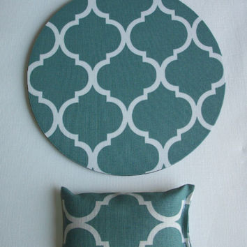 desk set - mouse pad and wrist rest - spa greenish blue trellis - mousepad set coworker gift Desk cubical Accessories