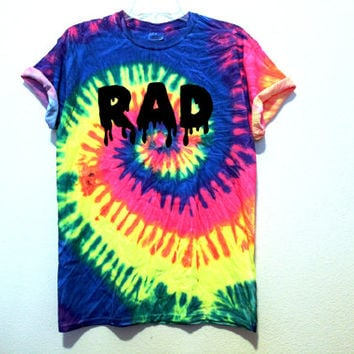 DISCONTINUING neon rainbow tie dye RAD shirt