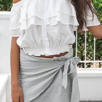 All Or Nothing Sage Wrap Skirt