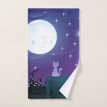 Cat Under The Moonlight Bath Towel Set