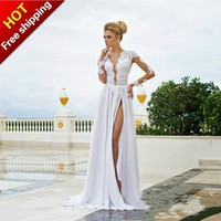 New Sexy V Neck Full Sleeve White Lace Appliques Backless Chiffon A Line Long Prom Dresses 2014 Evening Gown Evening Dresses-in Prom Dresses from Apparel & Accessories on Aliexpress.com | Alibaba Group