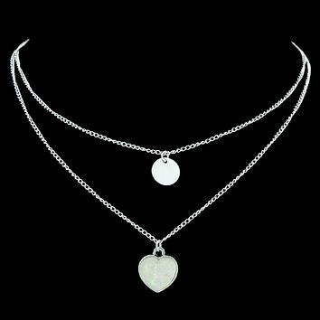 Two Layered Heart and Disc Silver Necklaces