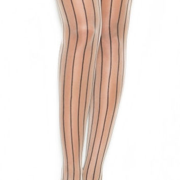 Satin Bow Pinstripe Thigh High Stockings