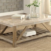 Ridley Creamy White Marble Top Weathered Wood Rectangle Cocktail Table