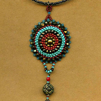 One of a Kind Hand Woven Bronze Pendant Necklace Pacific Opal Swarovski Crystals, faceted Czech fire beads