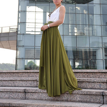 Plus Size Maxi Skirt Chiffon Silk Skirts Beautiful Bow Tie Green Elastic Waist Summer Skirt Floor Length Long Skirt (037),# 61