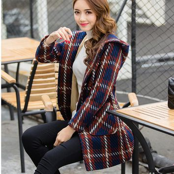 2018 Women coat winter long coats women plaid jacket female Blends woolen warm overcoat femininos ladies Clothing