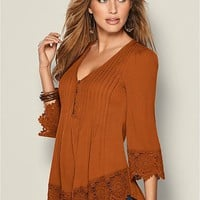 Lace Detail Button Up Top in Burnt Orange | VENUS