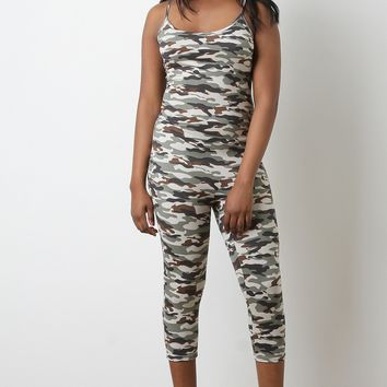 Soft Knit Camouflage Print Cami Fitted Capri Jumpsuit