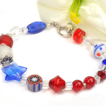 July 4th Bracelet, Patriotic Jewelry, Patriotic Gifts, USA, Star Spangled Banner