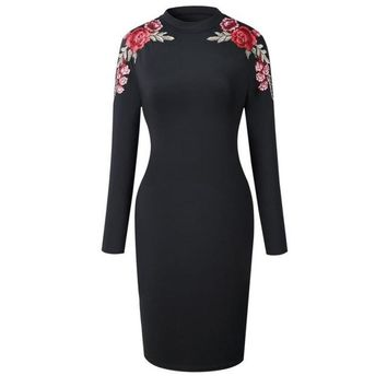 Embroidered Fitted Dress 3 Colors