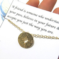 "Friendship best friend gift compass necklace ""A Friend is someone who""/compass necklace gift for best friend/compass friendship necklace"