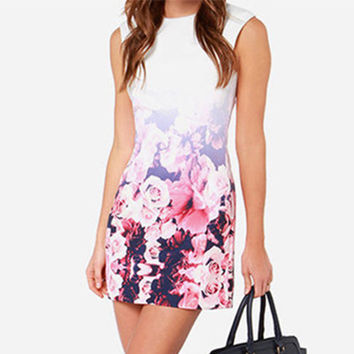 Summer Casual Bodycon Dress Fashion White Sleeveless Floral Graphic Printing Back zipper Dresses PE3528*50