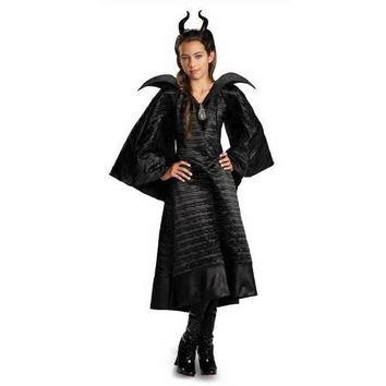 Maleficent Christening Deluxe Black Girls Dress Costume - Large (10-12)