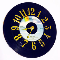Record Clock, Vinyl Record Clock, Wall Clock, Tiffany Record, Recycled Record, Upcycle, Battery & Wall Hanger included, Item #13
