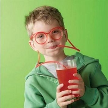 Creative Design Drinking Straw DIY Silly Straw Funny Cartoon Glasses Plastic Straws Gift For Children Transparent Party Supplies