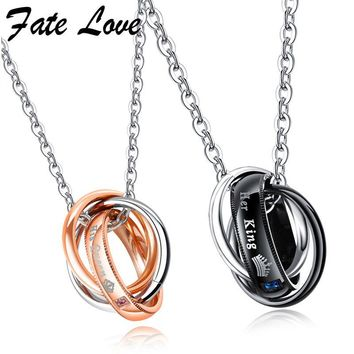 Fate Love Her King His Queen Couple Necklaces Stainless Steel Jewelry Collier Crown Pendant Necklace Jewellery Lovers Gift Colar