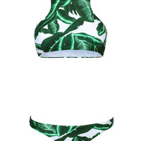 Green Tropical Leaf Print Racer Back Bikini Top and Bottom