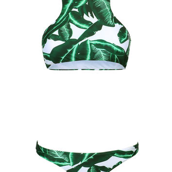 Green Tropical Leaf Print Racer Back Bikini