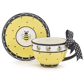 Bee Days Ceramic Tea Cup and Saucer with Gift Box