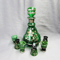 Vintage Green Glass Italian Style Decanter Set | Silver Overlay Floral Design Decanter Shot Glasses