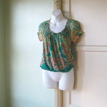 Paisley Print Green Peasant Top - Yellow/Orange Green Peasant Blouse - Small-Medium Peasant Top - Green Bohemian Tunic Top