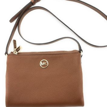 Michael Kors Fulton East/West Leather Crossbody in Luggage - 35T6GFTC7L LUGGAGE