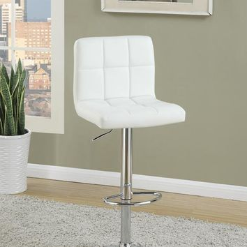 Armless Chair Style Bar Stool With Gas Lift White And Silver Set of 2 By Poundex
