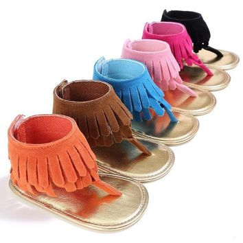 Summer Newborn Baby Girls Tassel Sandal Soft Sole Crib Shoes Prewalker 0-18M US