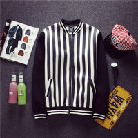 Stripes Lace Cotton Men Korean Slim Autumn Jacket [6541168579]