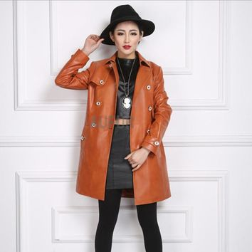 2017 New Women's Genuine Sheep Leather Coat Turn-down Collar Autumn Windproof Double Breasted Good Pattern with Pockets AU00538