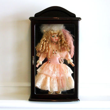 Vintage Porcelain Doll in Wood Glass Display Case, Blonde Hair, Curls, Green Eyes, Peach Lace Dress, Feather Hat, Collectible China Doll