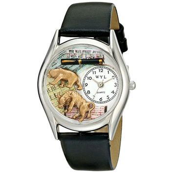 SheilaShrubs.com: Women's Stock Broker Black Leather Watch S-0620015 by Whimsical Watches: Watches