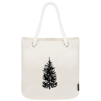 Tree print tote with rope handles, reusable bag, cottage tote, woodland tote, canvas bag, organic cotton, organic tote, rope handles