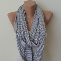 Striped Infinity - Lightweight Cotton Striped Scarf - Light Gray and White - Cowl - Loop Scarf by Umbrella Design