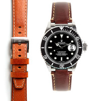 Everest Steel End Link Leather Strap System for the Rolex Submariner
