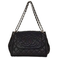 Chanel Black Quilted Timeless Accordion Flap Bag SHW