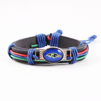 6pcs/lot America Football Team Baltimore Ravens Leather Bracelet  Sport Team Logo Charm Wrap Bracelet For Women Men Fan